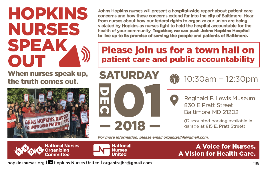 "A flyer with the event details for the ""Hopkins Nurses Speak Out"" event. The event is described as a ""town hall on patient care and public accountability."""