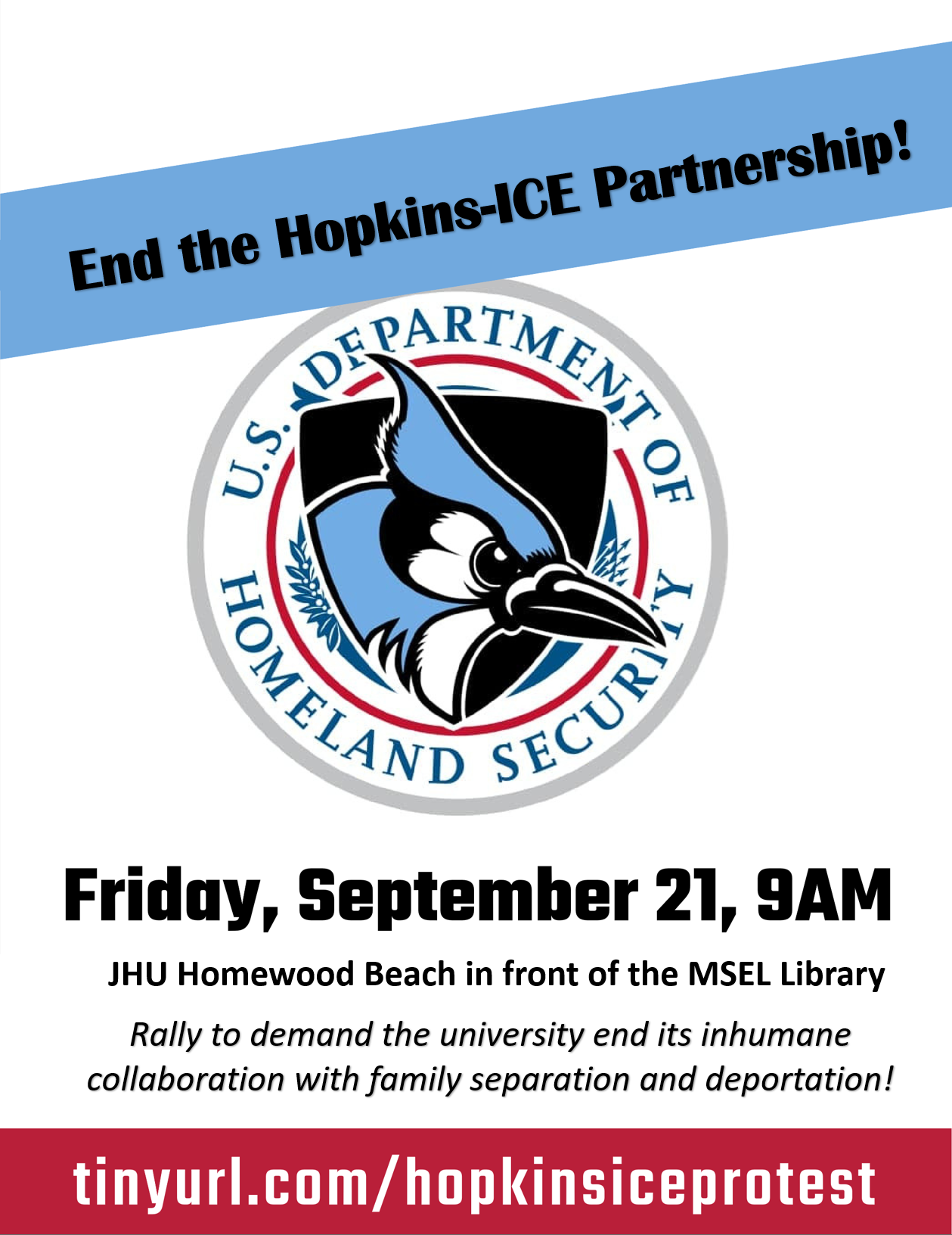 poster callng for a rally to end the hopkins contracts with ICE