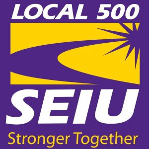 "On a purple square, bold white lettering says, ""SEIU Local 500."" Below that in gold lettering is the slogan ""Stronger Together."" A yellow and gold sunburst blooms in the background."