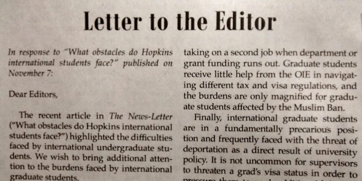 Slightly blurry photo of the top half of a letter to the editor oh the Hopkins Newslettter