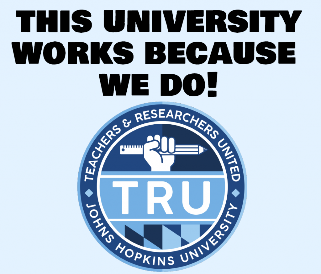 "Bold text above the TRU logo reads: ""The university works because we do!"""